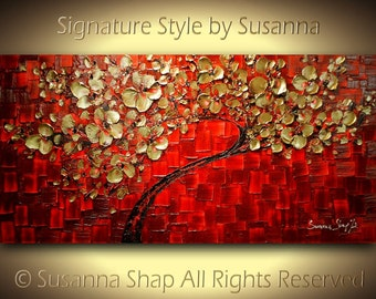 tree ORIGINAL art red and gold painting large abstract painting modern palette knife textured landscape home decor wall art by susanna 48x24