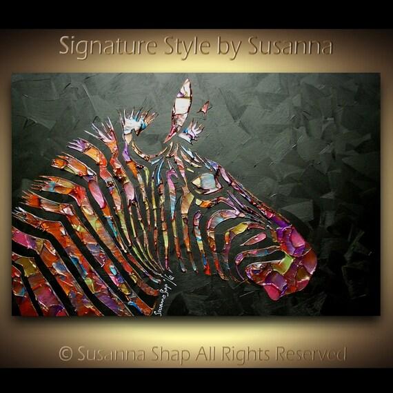 Zebra Painting Abstract Textured ORIGINAL Modern Animal Art Palette Knife Oil Painting Black Multi colored ~Susanna