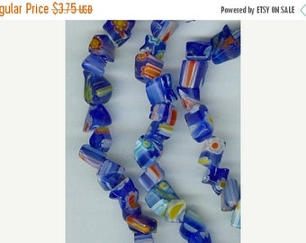 CLEARANCE Royal Blue Millefiori Chip Beads 32in strand