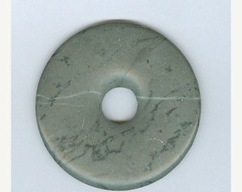 SALE 50mm Gray Artistic Jasper PI Donut Pendant 511