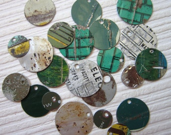 Recycled Tin Discs Charms Tokens Tags - Vintage GRUNGE Metal - Outsider Art Jewelry Supply