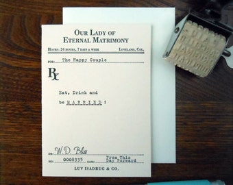 letterpress wedding prescription greeting card vintage ephemera inspired eat drink and be married
