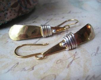 Mixed Metal Earrings, 14k Gold Fill, Pure Golden Brass, Fine Silver, Wire Wrapped, Textured Earrings, Teardrop Earrings, candies64