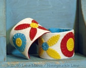 Folk Art Cuff Bracelet, Wool Applique, Adjustable, Fabric, Needlework, Yellow, Turquoise, Red, Fashion Statement