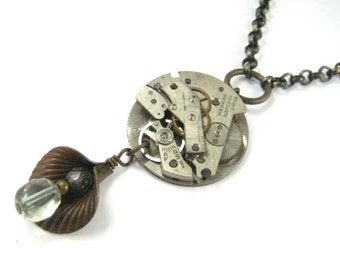 Timeless Lily ... Steampunk Victorian Lily and Watch Movement Pendant One of a Kind Jewelry