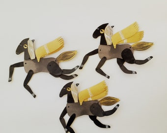 Licorice Mini / Black White and Gold Horse  / Hinged Beasts Series