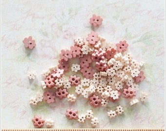 100 pcs Tiny Mini Flower Buttons Mixed Color/Size Supply - 2 holes -