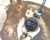 Black Beauty Antique BUTTON necklace, French Victorian HORSE on silver chain. Antique button jewellery.