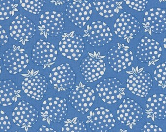 HALF YARD Lecien - Cream Strawberries on BLUE - Old New 30s Collection Spring 2016 - Ivory White - Japanese