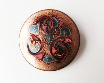 Vintage Enamel on Copper Pin Brooch HEB Canada Studio Circular Midcentury Modern