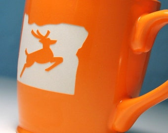 Oregon Stag Mug - Tangerine Orange - Portland OR coffee cup