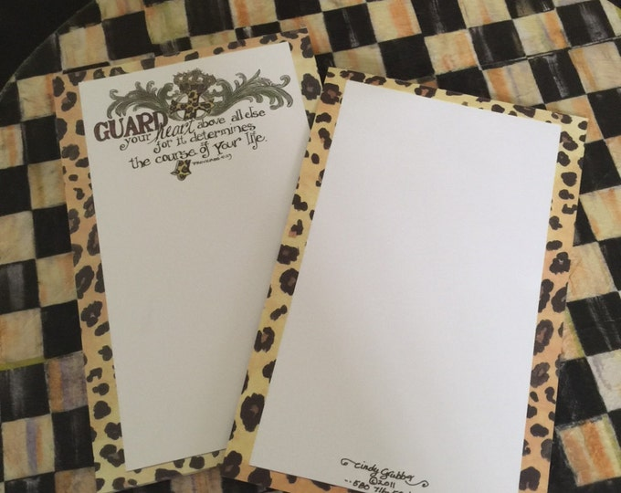 "For His Glory by Cindy Grubb padded stationery-Proverbs 4:23 ""Guard your heart."" Leopard print, Cross & Crown, Free matching bookmark"