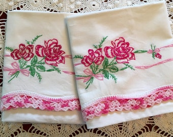 Vintage Embroidery Pillow Cases - Vivid Pink Roses And Rosebuds Garland w Crochet Trim - Pair - New Unused - Crisp Pillowcases