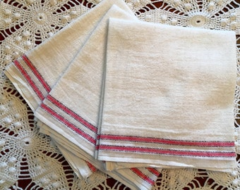 Vintage Kitchen Towels - Red Stripes on  Natural  Cotton/Linen Startex - Set of 3 - New Old Stock- Unused