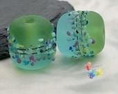 Lampwork Beads Green and Blue Batik Blossom Pair