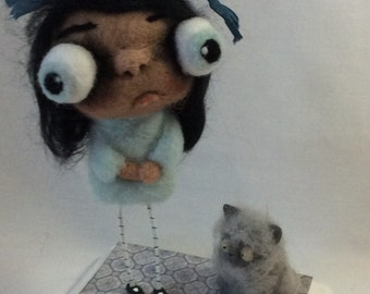 Kendall and her kitty Ooak hand needle felted artdoll