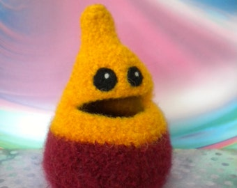 Felted Wool  Whatnot/Ring  Bowl, Hiding Place,  Desk Accessory, Lil Nom Nom Norm, Handmade, Cranberry, Gold