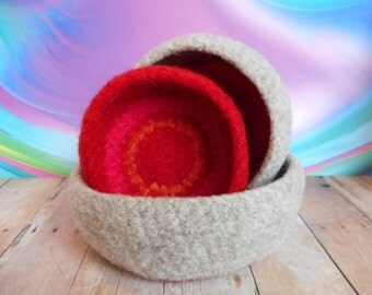 Felted, Wool, Handmade, Valentines Day Colors,  Whatnot/Ring  Bowls, Set of  3, Red, Pink, Oatmeal