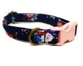 Ferndale - Dark Blue Navy Blue Red Pink Roses Floral Flowers Organic Cotton CAT Collar Breakaway Safety - All Antique Brass Hardware