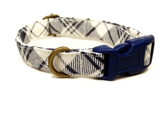 Madison Avenue - Navy Blue White Preppy Plaid Organic Cotton CAT Collar - All Antique Brass Hardware