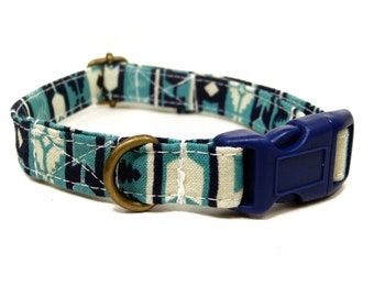 Native Spirit - Navy Blue Teal Turquoise Bohemian Southwestern Organic Cotton CAT Collar Breakaway Safety - All Antique Brass Hardware