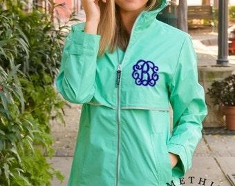 Mint Monogrammed Rain Coat Rain Jacket - Personalized Waterproof Rain Jacket, Mint and Gray Charles River Rain Jacket, Monogram Spring Coats
