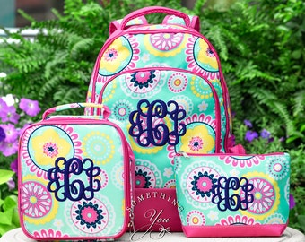 Gift Set of 3 - Monogrammed Backpack, Lunchbox and Pencil Case in Piper Medallion Pattern, Personalized School Bags for Girls
