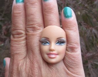 Barbie Doll Face with Eyelashes - upcycled adjustable ring