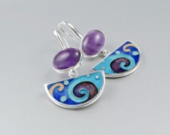 Purple Amethyst and Cloisonne Enamel  Silver Earrings
