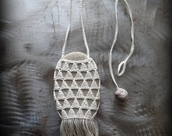 Artist Necklace, Crocheted Lace, River Stone, Triangle, Fringe, Handmade, Gray Stone, Nature, Tribal, Bohemian, Monicaj