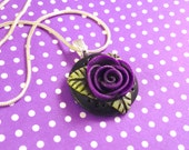Purple rose nexklace