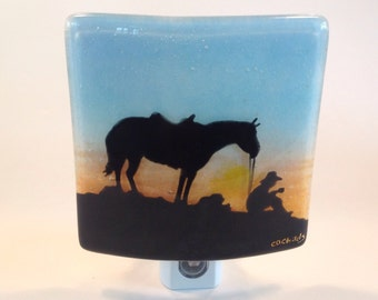 Night Light In Fused Glass (Cowboy)