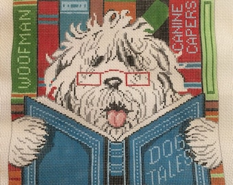 Dog Tales Needlepoint Canvas by Lee's Needle Art - Dog reading a book