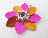 Pink and Orange Scale Maille Flower Hair Clip