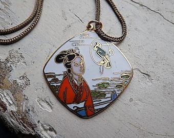 FREE SHIPPING Vintage Cloisonne Geisha Pendant Chain Necklace