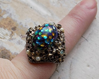 FREE SHIPPING Vintage Gothic Multi Colored Ring Adjustable Band Any Size