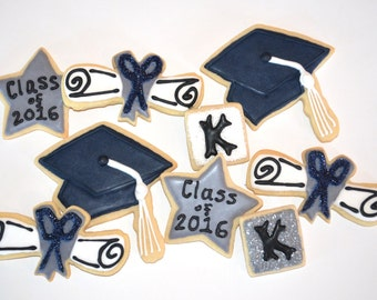 School GRADUATION THEME assorted decorated cookies.  Cap, diploma, stars, initial, monogram. Your choice of color & details.