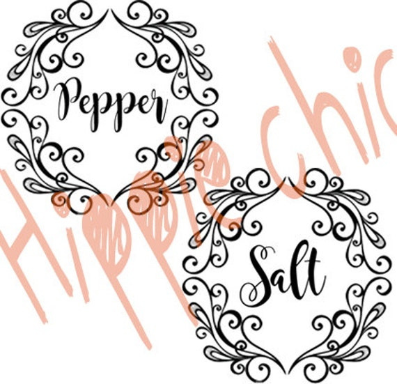 salt and pepper decal set fancy scrollwork decal framed salt and pepper decal sticker set