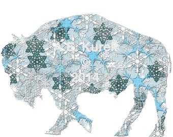Buffalo Cards - Snow Flake Winter Buffalo Card  -  Blank Bison Note Cards - SET of 2 - Buffalo NY - Buffalove
