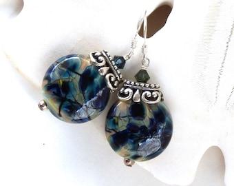 Artisan Lampwork Earrings, Deep Blue Earrings, Impressionist Art Glass Earrings, Navy Glass Bead Earrings, Midnight Blue Dangles, Mindy