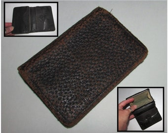 Vintage Old Worn Black Leather Man's Wallet with Built in Coin Purse, accessory