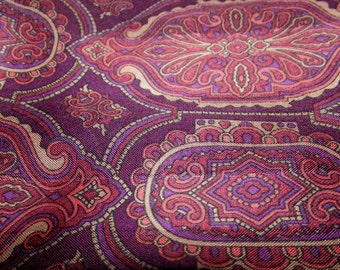 Vintage Long Polyester Head Neck scarf by Glentex, Italy, Purple Plum Paisley design,  accessory, fashion,  80s.