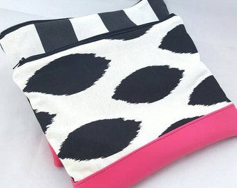 Clutch purse,pink leather clutch purse, vegan leather clutch,black ikat zipper clutch,tablet holder, bridesmaid gift, gift for her