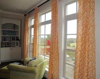 Drapery Curtain Panels SALE Orange Swirl (pair), window treatments, orange drapery panels
