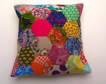 Hand Sewn Vintage Hexagon Patchwork Cushion / Pillow