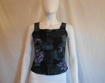 Vintage 90's  shirt top floral Asian,  90s tank top shirt