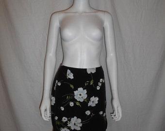 90's floral short skirt