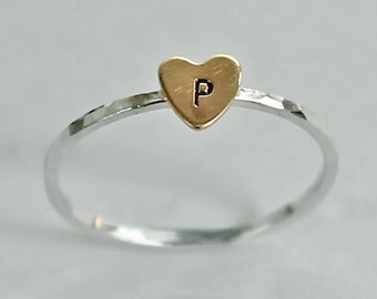 Initial Heart Ring, Wife Gift, Girlfriend Personalized Ring, Mother's Ring, Custom Initial Ring, Brass Sterling Silver Ring, Gift for Mom