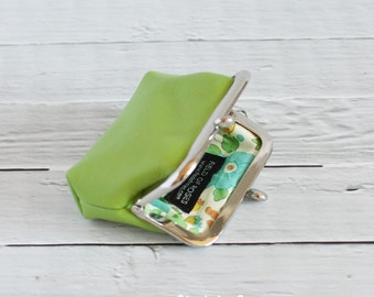 Clasp Leather Coin Purse Earbud Holder Case Green Apple Last One
