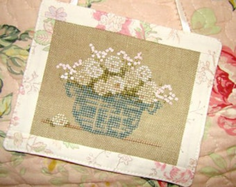 White Flowers Ornament Cross Stitch PDF Pattern